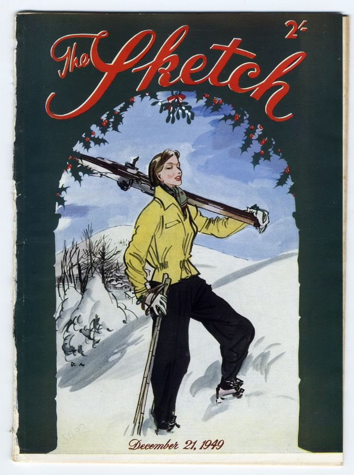 1949 THE SKETCH Magazine 21Dec CHRISTMAS Garson CAGNEY Regan SKIING (5472)